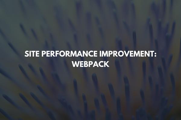 Site Performance Improvement: Webpack